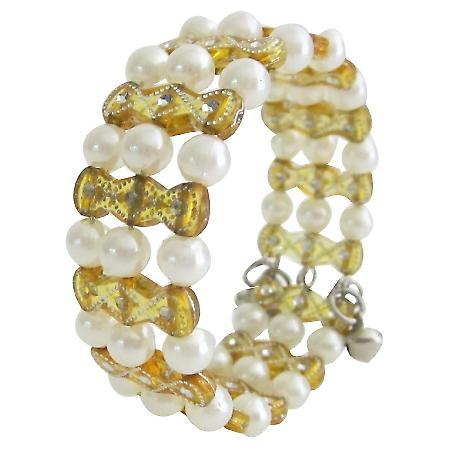 Bracelet Cute Gift Bangle Bracelet Gold & White Beads