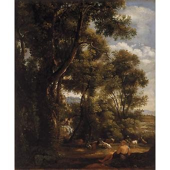 Landscape with goatherd and goats,John Constable,60x50cm