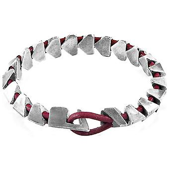 Anchor and Crew Brixham Maxi Round Leather and Chain Bracelet - Bordeaux Red/Silver