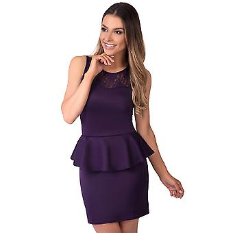 KRISP  Lace Mesh Panel Bodycon Peplum Pencil Wiggle Stretch Frill Mini Dress Party