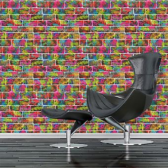 Brick Effect Wallpaper Slate Stone Graffiti Kids Multi Coloured Rasch