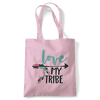 Love My Tribe,Family Besties Tote | Reusable Shopping Cotton Canvas Long Handled Natural Shopper Eco-Friendly Fashion | Gym Book Bag Birthday Present Gift Her | Multiple Colours Available