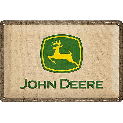 John Deere Logo (hessian look) embossed metal sign (na 3020)