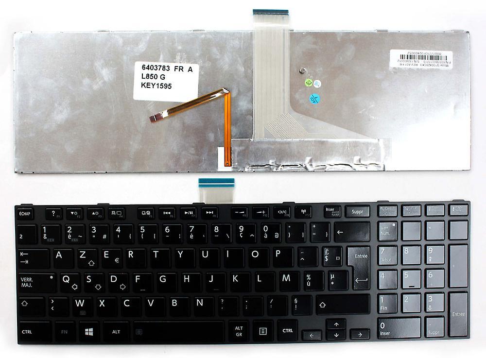 Clavier d'ordinateur portable Toshiba Satellite L850-168 cadre gris brillant rétro-éclairé noir Windows 8 Français mise en remplacement