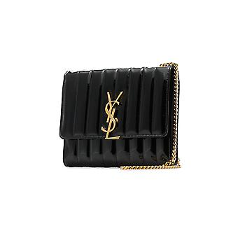 Saint Laurent Vicky Black Leather Shoulder Bag