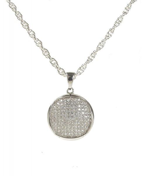 Cavendish French Little Round but Square CZ Pendant