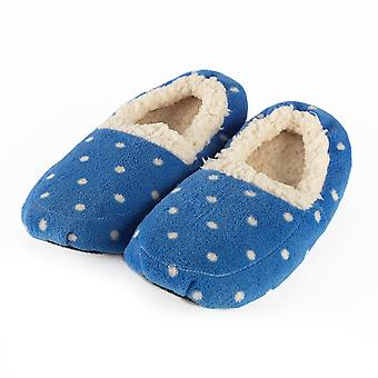 Warmies Sherpa Microwavable Slippers: Blue Polka Dot