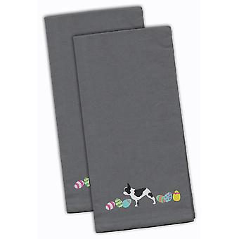 French Bulldog Easter Gray Embroidered Kitchen Towel Set of 2