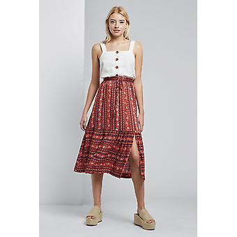 Louche Timo Folkstripe Tiered Skirt Red