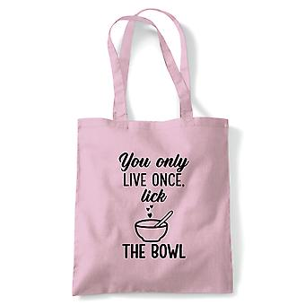 You Only Live Once Lick The Bowl Tote | Signature Creme Pat Hollywood Handshake Winner | Reusable Shopping Cotton Canvas Long Handled Natural Shopper Eco-Friendly Fashion