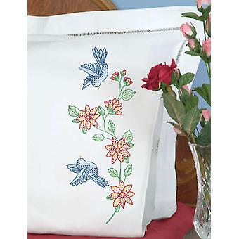 Stamped Pillowcases With White Perle Edge 2 Pkg Birds 1600 31