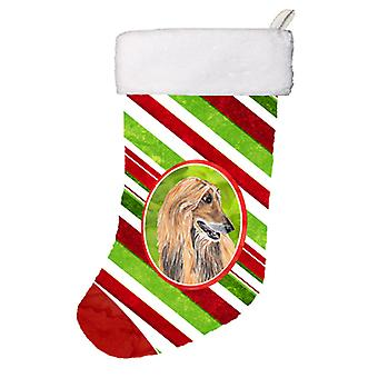 Afghanske Hound Candy Cane Holiday Christmas Christmas Stocking SC9498-CS