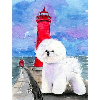 Lighthouse with Bichon Frise Flag Garden Size