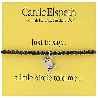 Carrie Elspeth Just to Say a Little Birdie told me Sentiment Stretch Bracelet