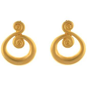 Kenneth Jay Lane Satin Gold Plated Double Open Swirl Clip On Earrings