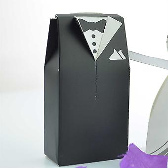 Viskey Double-breasted Bride and Groom Wedding Gift Paper Boxes, Pack of 20