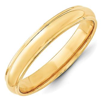 14k Yellow Gold 4mm Half Round With Edge Band Size 5.5 Ring