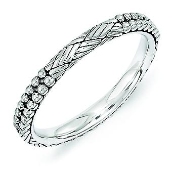 2.5mm Sterling Silver Stackable Expressions Antiqued Patterned Ring - Ring Size: 5 to 10
