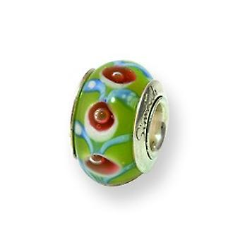 Ster. Silver Reflections Kids Green Murano Glass Bead Charm