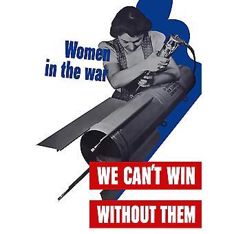 Vintage VERDENSKRIG plakat av kvinnelige fabrikkarbeider bygningen en rakett den deklarerer kvinner i krigen vi skrånende vinne uten dem plakatutskrift