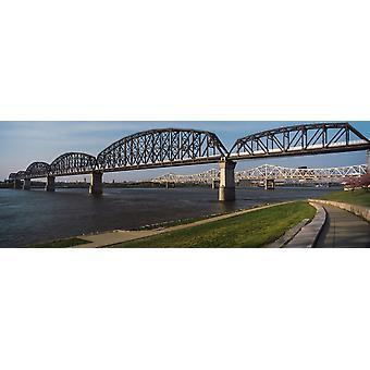 Bridge across a river Big Four Bridge Louisville Kentucky USA Poster Print