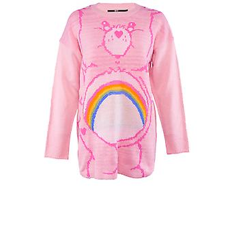 Iron Fist Womens Cheer Bear Slouch Sweater Jumper Care Bears Cute Kawaii Pink