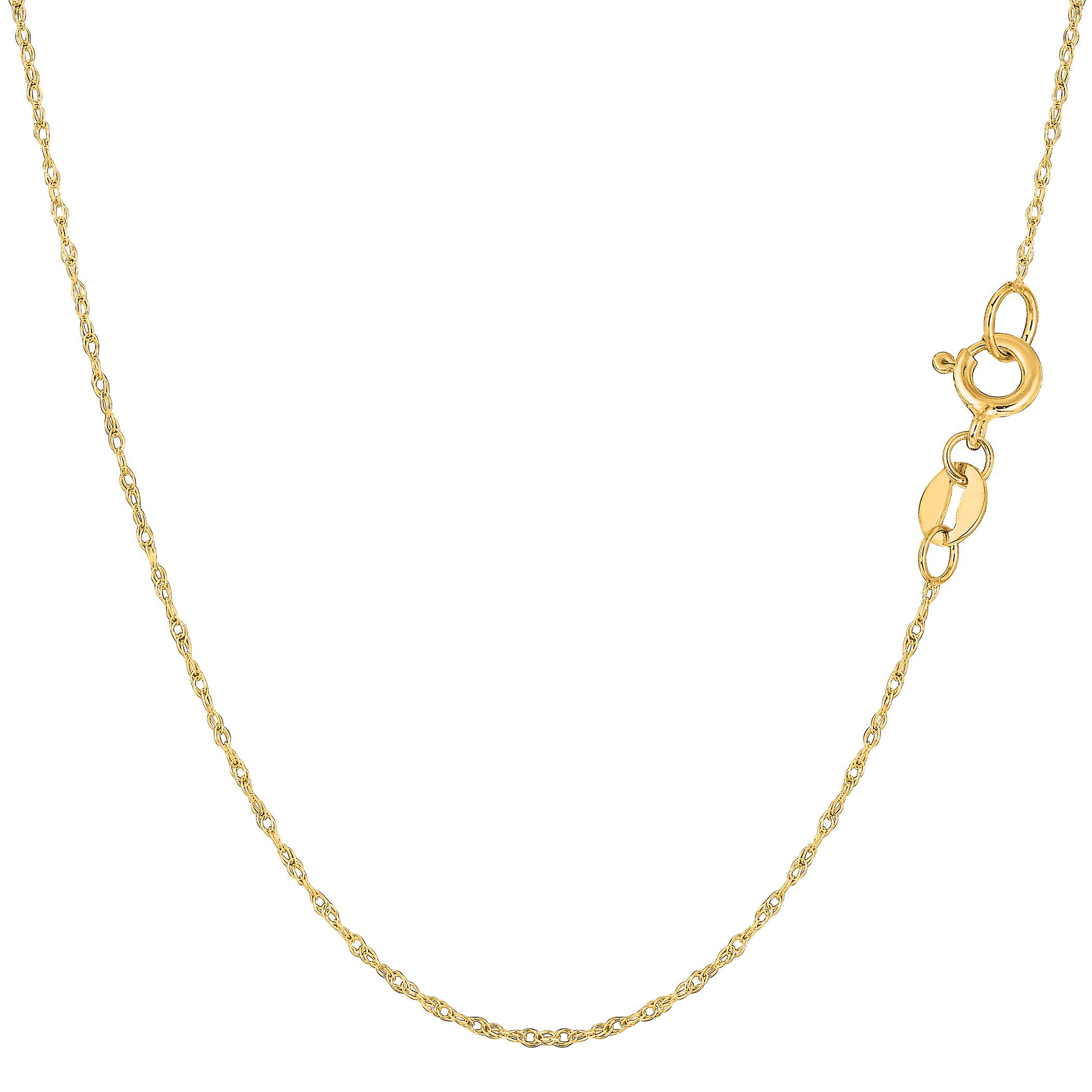 10k Yellow Gold  Rope Chain Necklace, 0.6mm