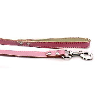 Doggy Things Plain Leather Lead Light Pink 115 X1.4cm