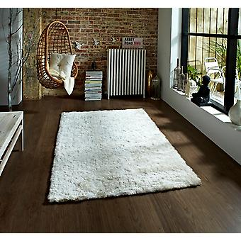Soft Elegant High Gloss Quality Cream Shaggy Pile Rug - Savoy