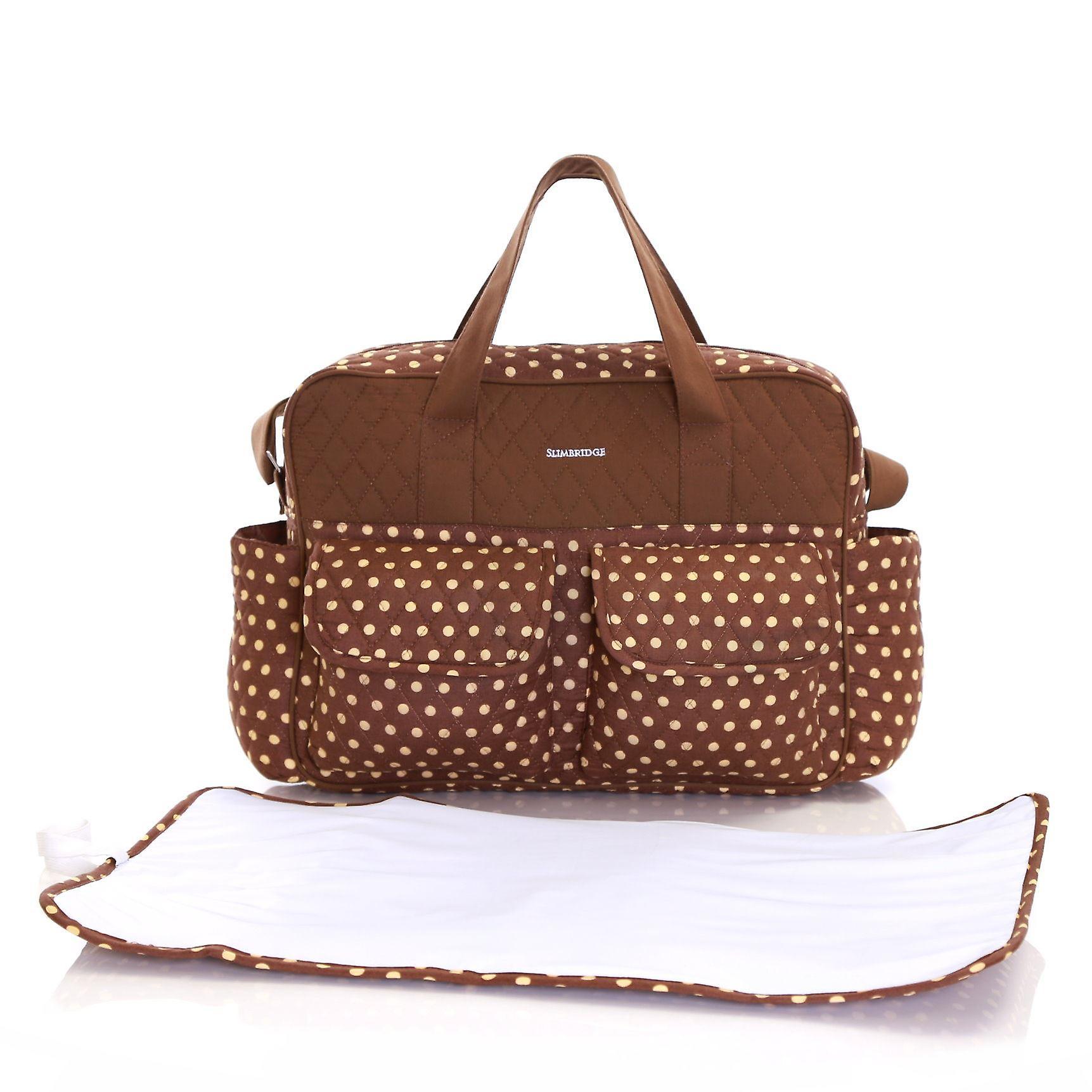 Slimbridge Melrose Baby Tote Bag with Changing Mat, Mocha Dots