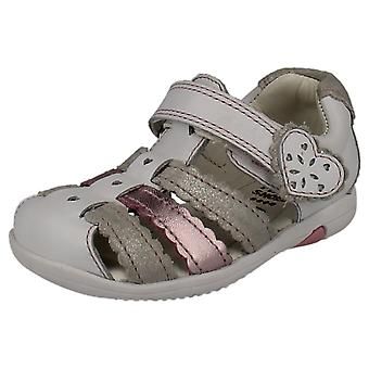 Girls Clarks First Sandals Closed Toe Softly Palm FST - White Combi Leather - UK Size 3F - EU Size 18.5 - US Size 3.5