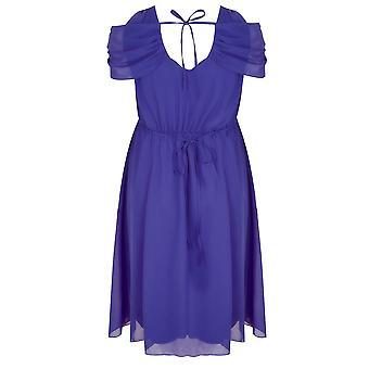 SCARLETT & JO Blue Chiffon Wrap Midi Dress