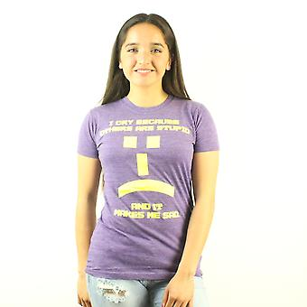The Big Bang Theory I Cry Emoticon Junior's Purple T-shirt
