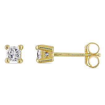Princess Cut Diamond Solitaire Stud Earrings 1/3 Carat (ctw Color I-J Clarity I2-I3) in 14K Yellow Gold