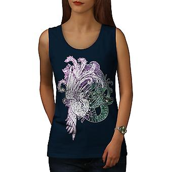 Japan Mystic Bird Fantasy Women Navy Tank Top | Wellcoda