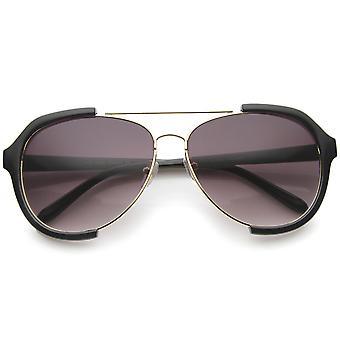 Modern Oversize Metal Crossbar Semi-Rimless Aviator Sunglasses 62mm