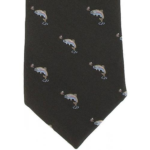Michelsons of London Fish Silk Tie - Brown