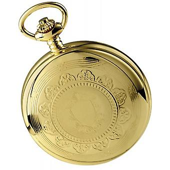 Woodford Gold Plated Twin fuseau horaire Double squelette complet de chasseur mécanique Pocket Watch - or