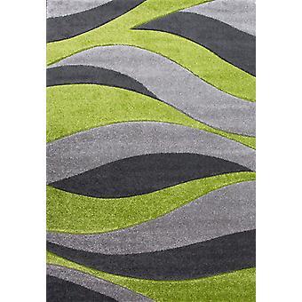 Modern Wave Green & Grey Rugs - Rio