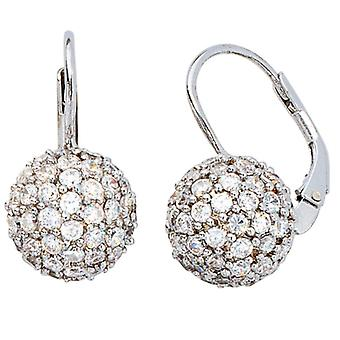 Earring earrings boutons BALL, 925-sterling silver, rhodium plated, with zirconia all around