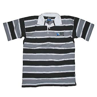 Rugby World Cup 2011 Stripe Short Sleeve Rugby Shirt [black/grey]
