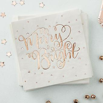 Rose Gold Foiled Merry And Bright Paper Napkins - Metallic Star