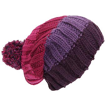 Adults Unisex Striped Cable Knit Winter Bobble Hat
