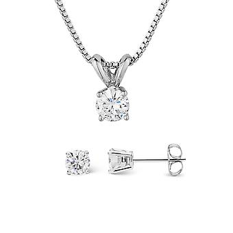 Forever Classic Round Cut Moissanite Earrings and Pendant Necklace Set