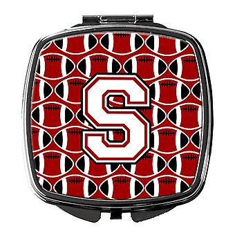 Letter S Football Cardinal and White Compact Mirror