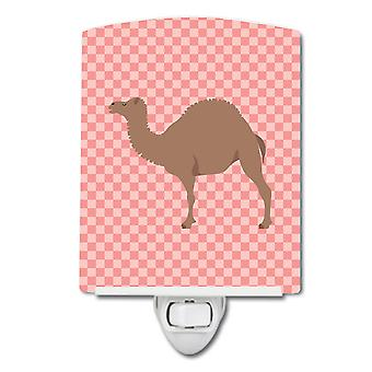 Carolines Schätze BB7819CNL F1 Hybrid Kamel rosa Check Keramik Nachtlicht