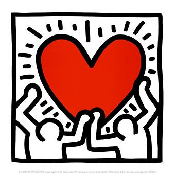 Untitled 1988 (Figures with Heart) Poster Print by Keith Haring (12 x 12)