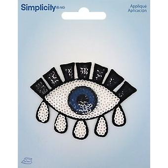 Wrights Sequin Iron-On Applique-Eye 193 2036