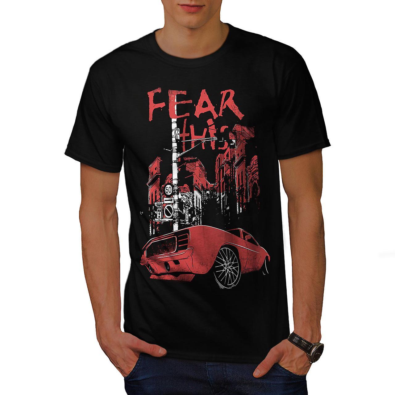 Fear Mustang Art Car Men Black T-shirt | Wellcoda