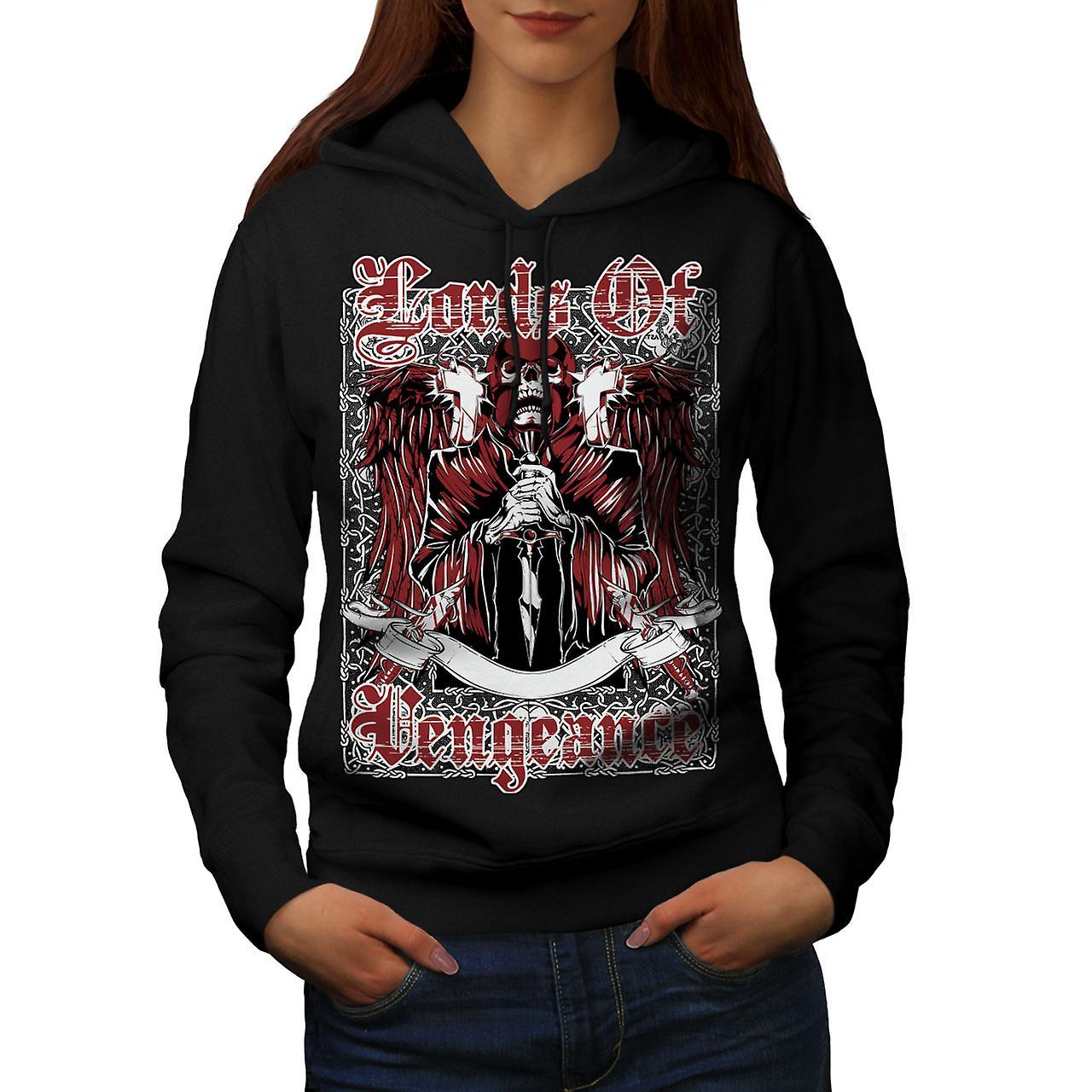 Lords Of Vengeance Skull Women Black Hoodie | Wellcoda